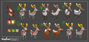 Character exploration for the bundles of the christmas event. Responsible for all the exploration and implementation (modeling and texturing) updates sent to server