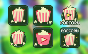 Feature icons designed to fit on the colors of the screen. Different ideas were designed for an AD watching feature.