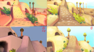 Different lighting variants trying to convey jurassic atmospheric conditions around a desert canyon.