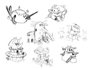 Brainstorm ideas for the possible theme-building updates for the builder side of the game. They should reflect which animal was inspired but also felt part of the fun architecture of the theme island.