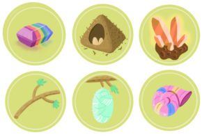 Iconography designed for funny objects got as bonus at scoring.