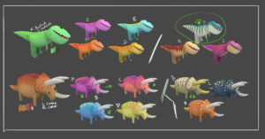 Texture variants to add complexity and level of difficulty to the rare species of dinos. Responsible to set up the language in shape of colors, but also do the proper texturing/AO bakes for the models.