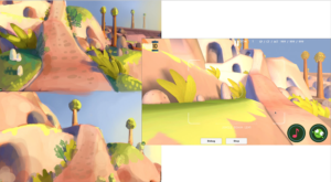 Progression shot of the color key design and the final result on texturing.